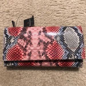 Tahari snakeskin design leather wallet, NWT